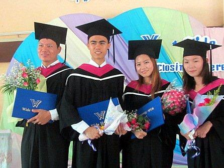 Hseng Lake, Tee Hseng, Nanta Boon and Warlu   Tee Hseng Graduated   Koung Jor Shan Refugee Camp